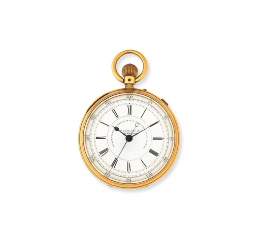 Bonhams EnglandJ. Hargreaves & Co, Liverpool. An 18K gold keyless wind open face pocket watch with stop/start seconds