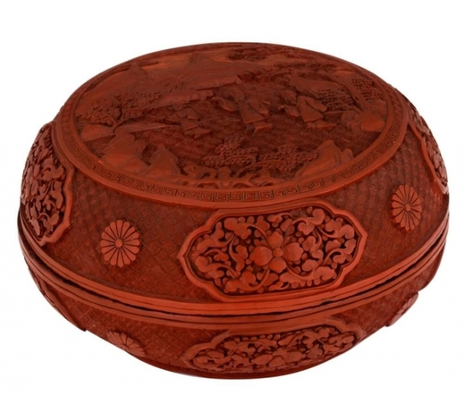Carlo Bonte AuctionsA Chinese carved cinnabar lacquer box and cover