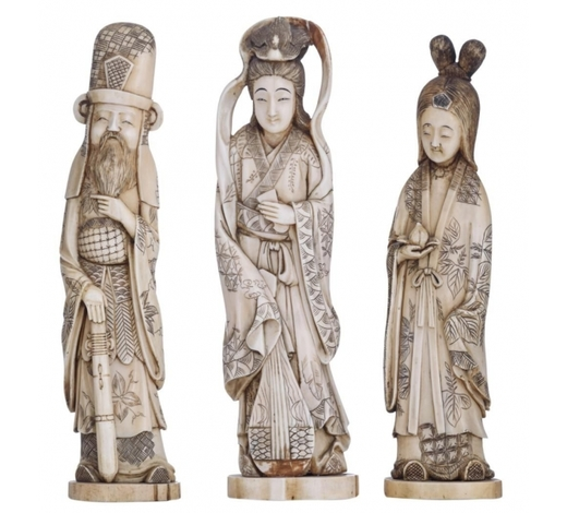 Carlo Bonte AuctionsThree ivory statues