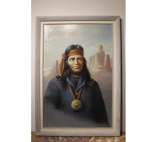 Affinity AntiqueOil on Canvas, American Indian Man,