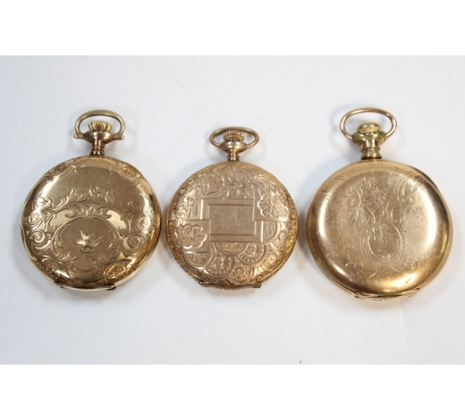 Affinity AntiqueThree Gold Plate Pocket Watches