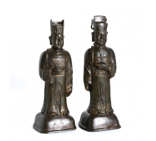Cloudswood AuctionTwo Bronze Figures of Officials