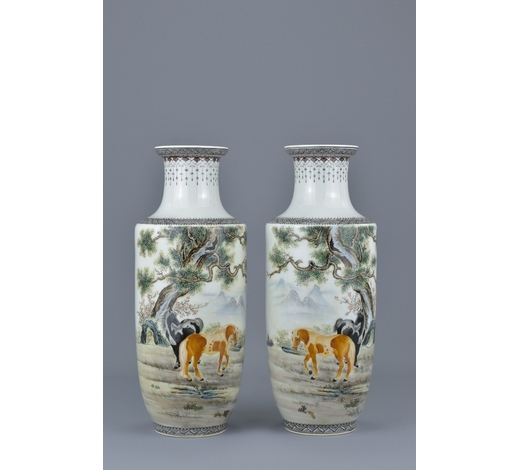 Ma San AuctionA pair of Chinese Republican period famille-rose porcelain vases. 27.5cm tall