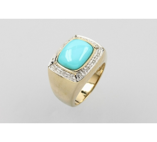Henry's14 kt gold ring with turquoise and diamonds