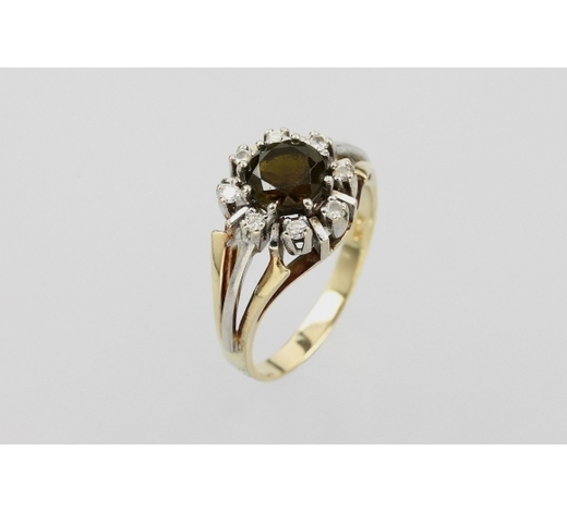 Henry's14 kt gold ring with tourmaline and diamonds