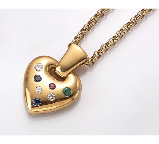 Henry's18 kt gold heartpendant with coloured stones
