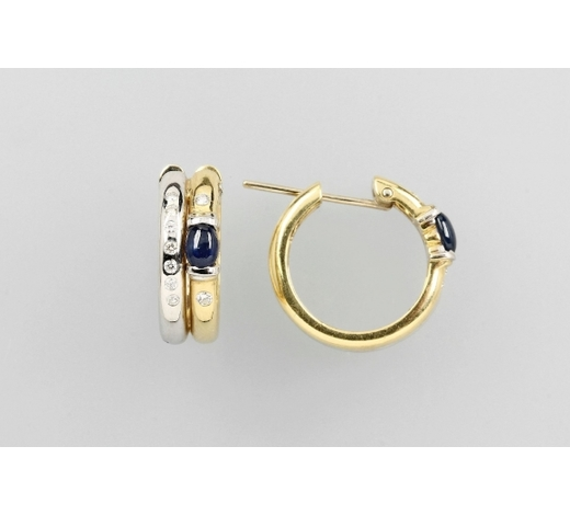 Henry'sPair of 18 kt gold hoop earrings with sapphires and brilliants