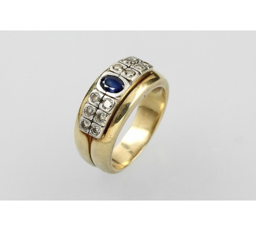 Henry's14 kt gold ring with sapphire and brilliants
