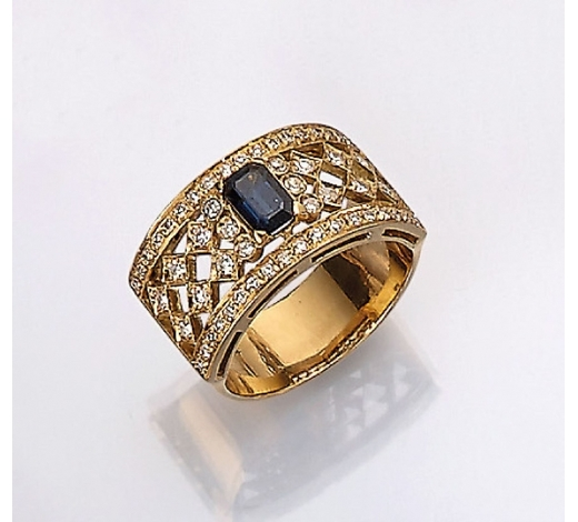 Henry's18 kt gold ring with diamonds and sapphire