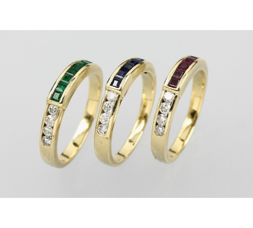 Henry's18 kt gold ringtrio with coloured stones and brilliants