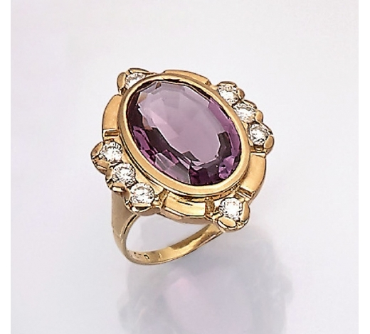 Henry's14 kt gold ring with amethyst and brilliants