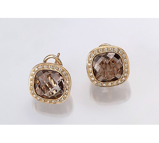 Henry'sPair of 14 kt gold earrings with smoky quartz and brilliants