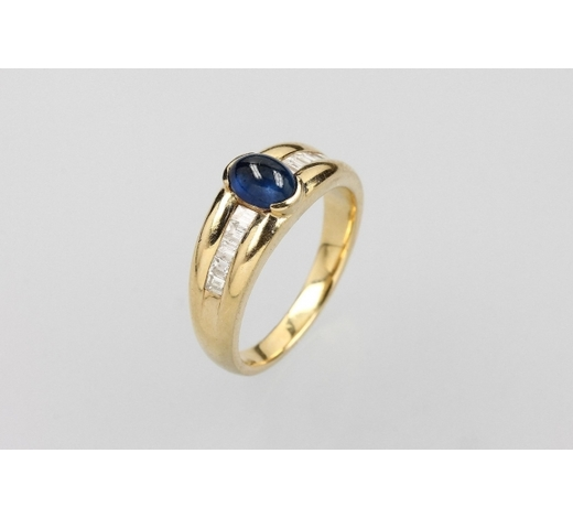 Henry's18 kt gold ring with sapphire and diamonds