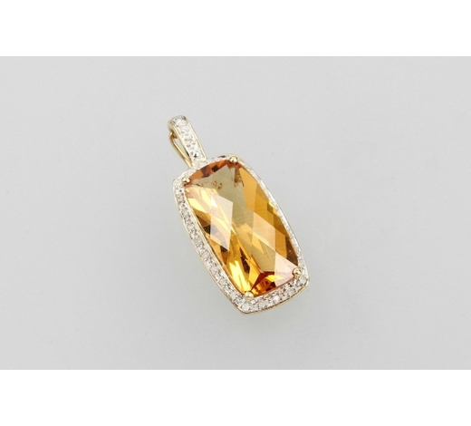 Henry's14 kt gold clippendant with citrine and diamonds