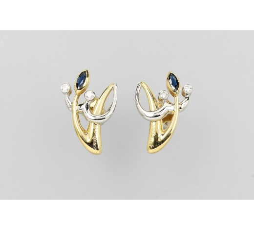 Henry'sPair of 18 kt gold COLANI earrings with sapphires and brilliants
