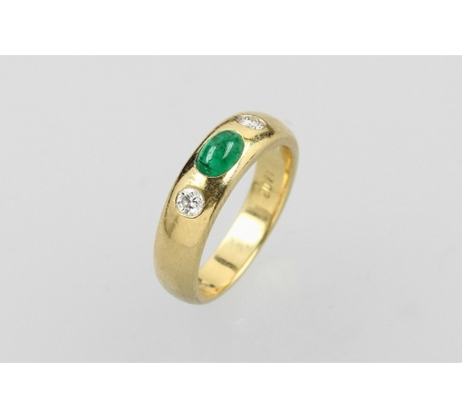 Henry'sWEMPE 18 kt gold ring with emerald and brilliants
