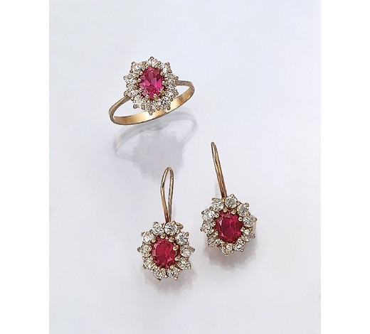Henry's14 kt gold jewelry set with diamonds and rubies