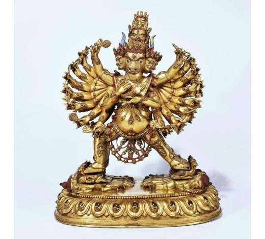 Galaxy Auction IncA Gilt-Bronze Figure Of Yamantaka