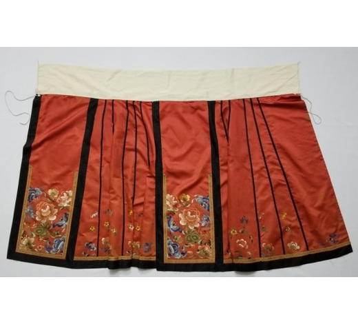 Galaxy Auction IncAntique Chinese Silk Hand Embroidered Skirt