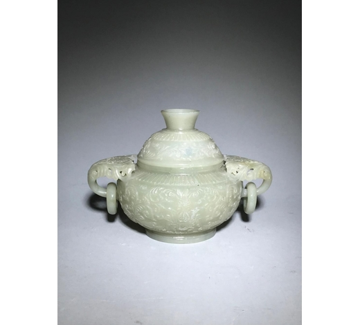 Galaxy Auction IncA Green Jade 'Peony' Covered Censer