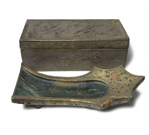 Madison Square Gallery Inc.Rare Liao Dyn. Jade Gilt Silver Brush Washer With Box