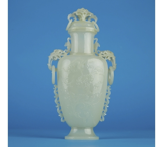 Revere AuctionsChinese Republic Period Mughal Style Jade Vase w/ Stand