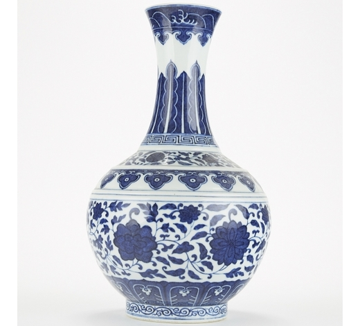 Revere AuctionsChinese Qing Blue and White Porcelain Tribute Vase in Ming Style