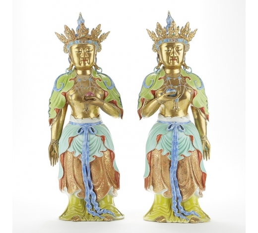 Revere AuctionsPr Huge 20th c. Chinese Porcelain Buddhist Figures