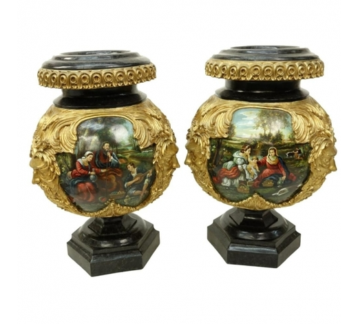 Kodner GalleriesPair Monumental Hand Painted Decorative Urns