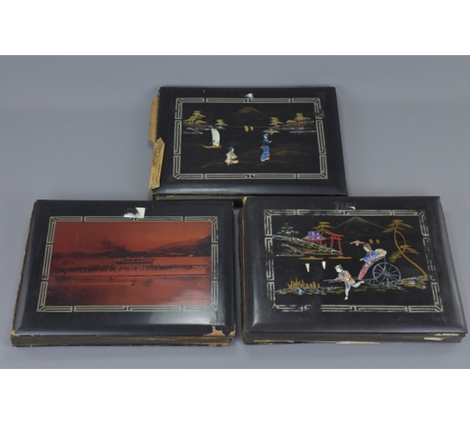 Ma San AuctionThree Lacquered Photograph Albums documenting the voyages of H.M.S. Eagle and H.M.S. Birmingham travelling from England to South East Asia, Japan and China in 1937 to 1939 including many Postcards and Black and White Photographs