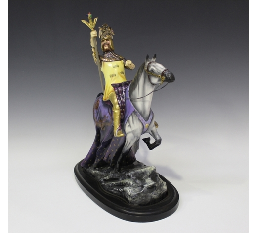 TooveysA Michael Sutty porcelain figure group of King Arthur on his horse
