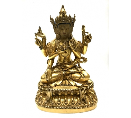 The Popular Auction, LLCImportant Chinese Gilt Bronze Buddha Figure Ming dynasty. Important Chinese three heads Buddha figure with six engraved Chinese chara
