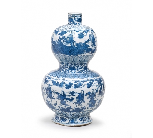 Bonhams EnglandAn exceptionally rare and large blue and white 'Immortals' double-gourd vase