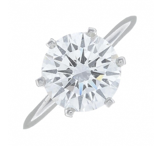 FellowsTIFFANY & CO. - a platinum diamond single-stone ring. The brilliant-cut diamond