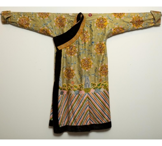 Revere AuctionsQing Chinese Embroidered Yellow Dragon Robe