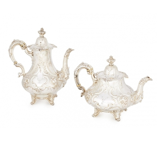 RoseberysA Victorian silver teapot and coffee pot