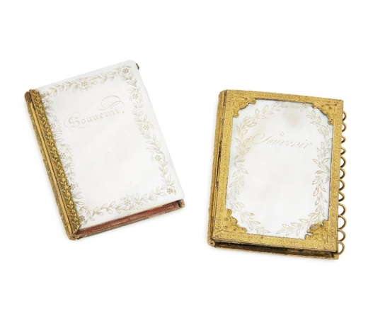 RoseberysA French mother-of-pearl and gilt-metal mounted note book folder