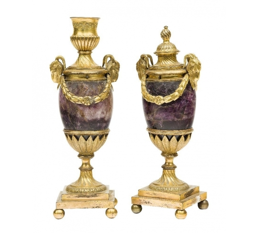 RoseberysA pair of George III ormolu and blue-john cassolettes