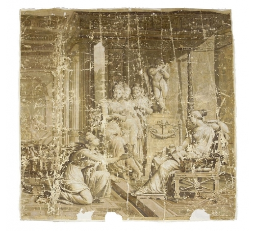 RoseberysA French Neo-Classical en grisaille wallpaper panel