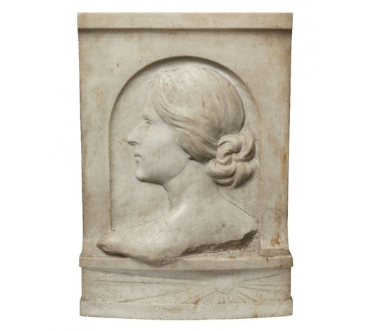 RoseberysA Continental rectangular marble plaque of a woman