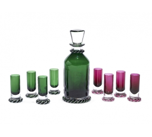 RoseberysA St Louis coloured glass liquor set