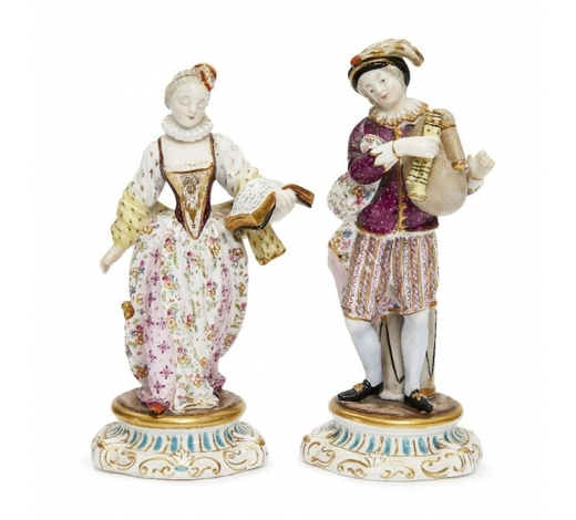 RoseberysA pair of Continental figures of a boy and girl