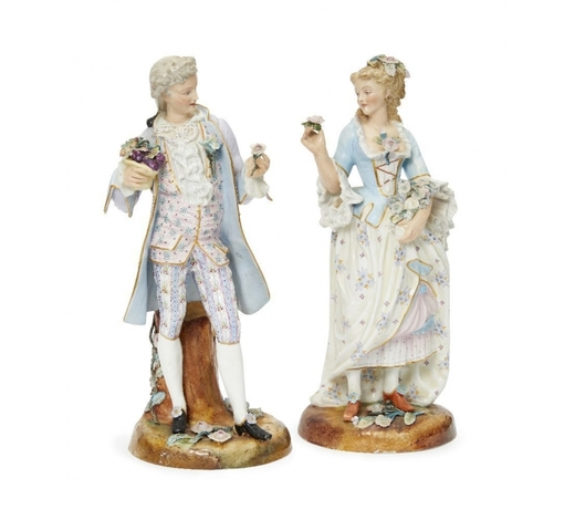 RoseberysA pair of Continental porcelain figures of a lady and gentleman