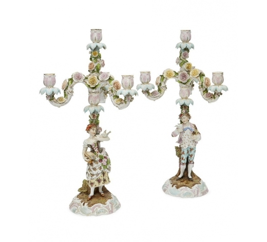 RoseberysA pair of German porcelain floral-encrusted four light candelabra