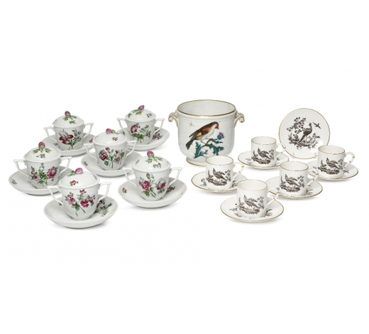 RoseberysA set of six Herend porcelain custard cups and covers