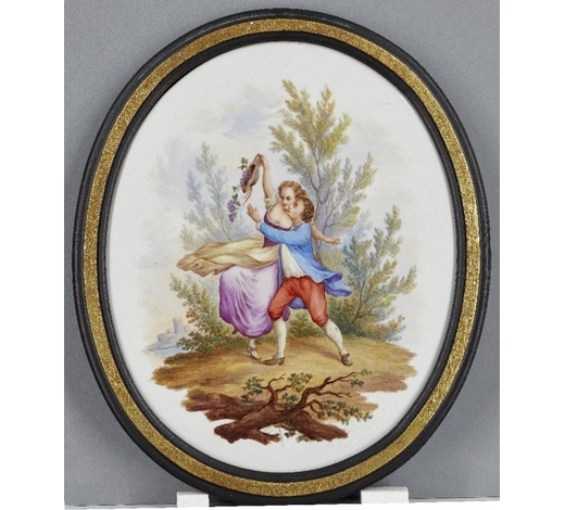 RoseberysA French Sevres style oval porcelain plaque
