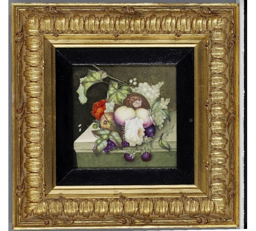 RoseberysAn English porcelain plaque depicting a still life with fruit and flowers