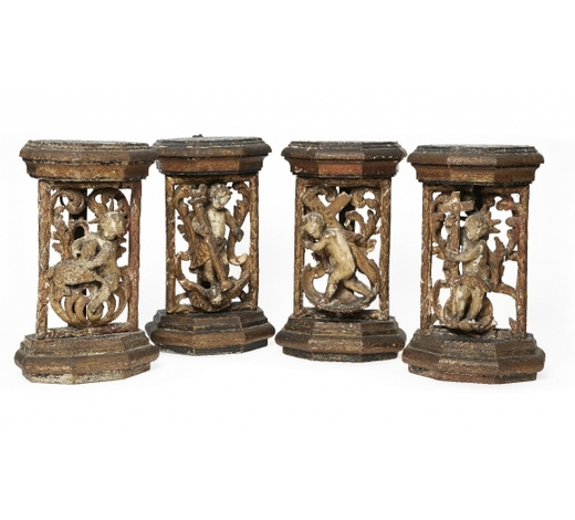 RoseberysA set of four South German parcel-gilt wood carvings depicting the four stages of the Passion of Christ