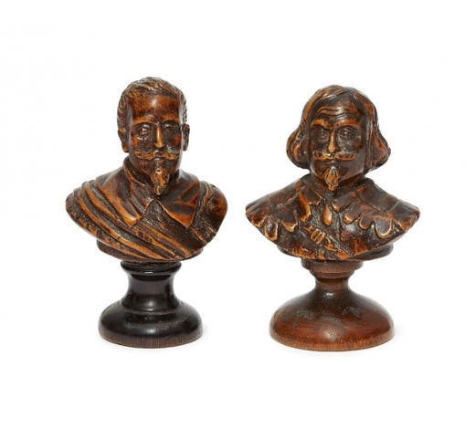RoseberysTwo carved boxwood busts of nobleman