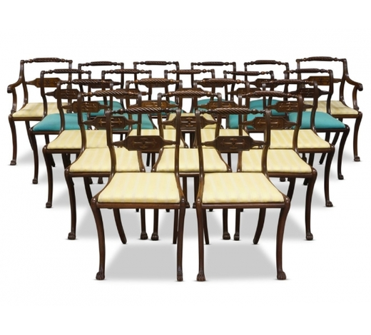 RoseberysA set of sixteeen Regency mahogany and caned dining chairs
